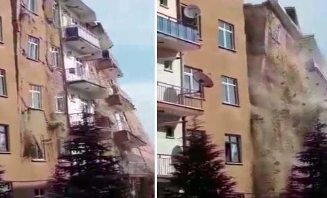 Elazığ'daki 4.2'lik depremde 6 katlı bina kendiliğinden çöktü
