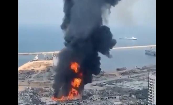 Beyrut Limanında büyük bir yangın daha yaşandı