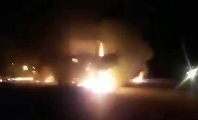 Irak'ta, ABD ordusuna lojistik destek sağlayan 3 TIR ateşe verildi