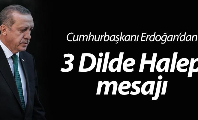 Cumhurbaşkanı Erdoğan`dan 3 dilde Halep mesajı