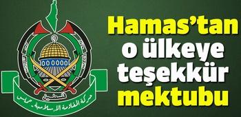 Hamas`tan o ülkeye teşekkür mektubu