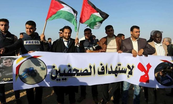 Filistinli gazetecilerden, esaret altındaki meslektaşlarına destek