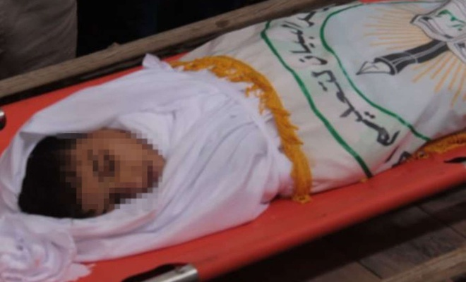 Siyonist işgalcilerin Gazze'ye attığı bomba nedeniyle bir çocuk şehid oldu