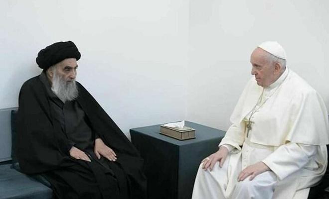 Katolik Hristiyanların lideri Papa Ayetullah Sistani ile görüştü