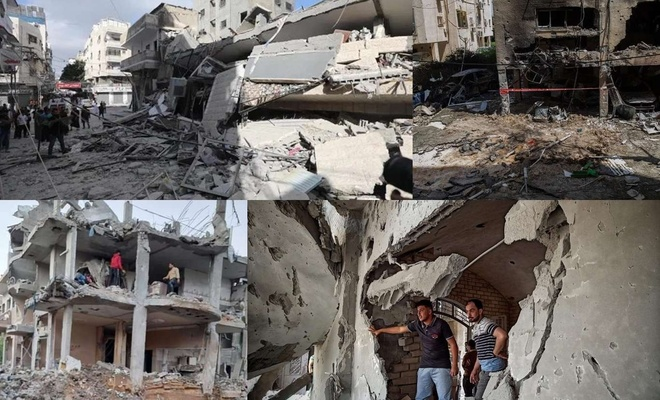 Gazze'deki siviller karadan ve havadan yoğun bombardımanla hedef alınıyor