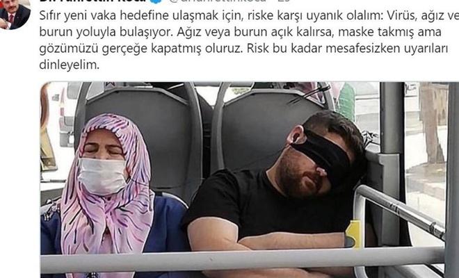 Sağlık Bakanı Koca'dan maskeyi gözüne takan vatandaşa tepki