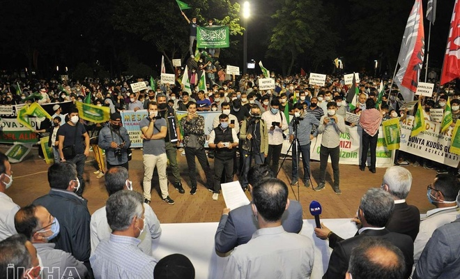 HÜDA PAR protests zionist regime's attacks on Gaza and Jerusalem in southeastern Turkey