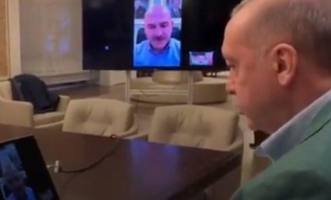 Erdoğan video konferansla çalışmaları takip ediyor