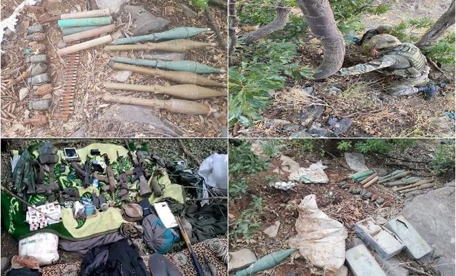 Avaşin-Basyan bölgesinde PKK'ye ait silah ve mühimmat ele geçirildi