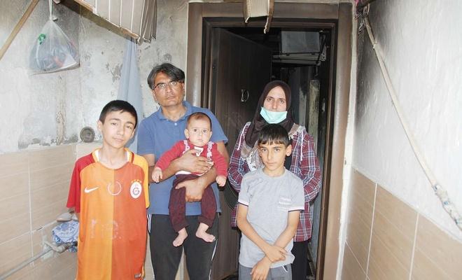 Evleri yanan mağdur aile yardım bekliyor