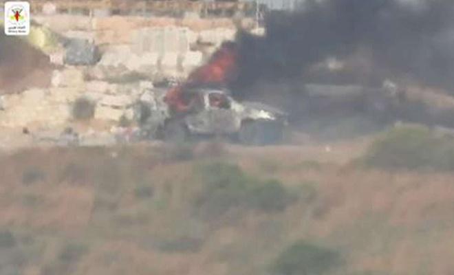Kudüs Tugayları işgalcilere ait bir askeri aracı füzeyle vurdu