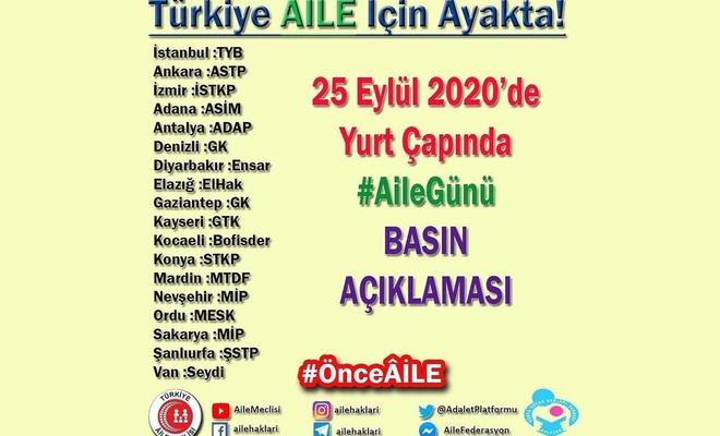 Türkiye Aile Meclisi birçok ilde ortak basın açıklaması düzenleyecek