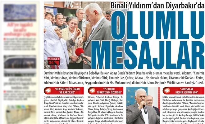 Binali Yıldırım'dan Diyarbakır'daOLUMLU MESAJLAR