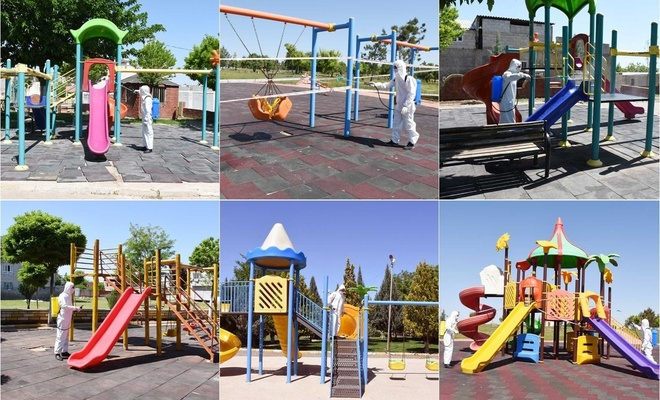 Şanlıurfa Hilvan'da çocuklara verilecek izin öncesi parklar dezenfekte edildi
