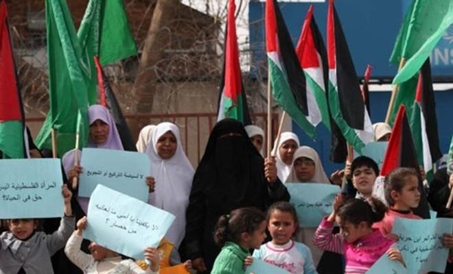 Gazzeli kadınlardan Siyonist saldırı mağduru kadınlara destek gösterisi