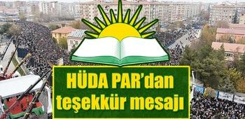 HÜDA PAR`dan teşekkür mesajı