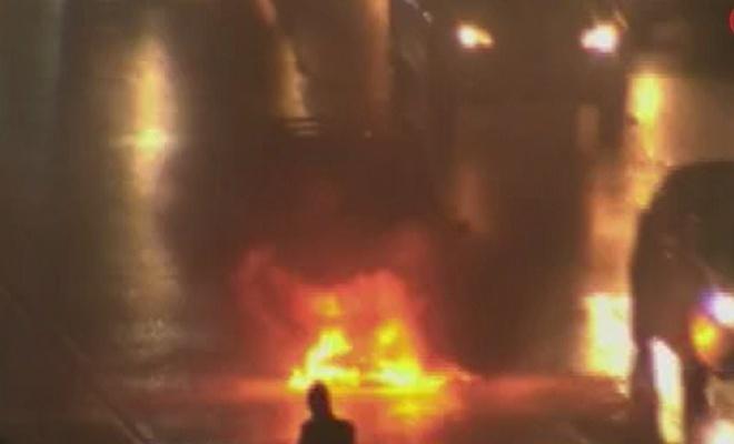 E5'te araç alev alev yandı