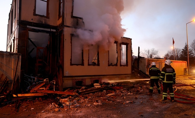 Edirne'de tarihi müftülük binasında yangın