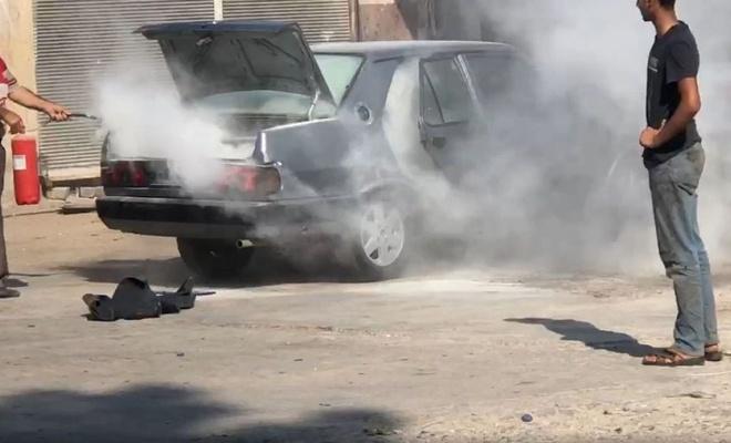 Araba havanın sıcaklığına dayanamayıp patladı
