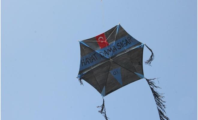 """""""Hayat dama sığar"""" yazılı yüzlerce uçurtmayla Adana semalarını süslediler"""