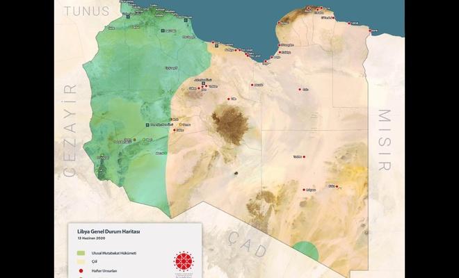 İletişim Başkanlığı Libya'da son durumu gösteren harita yayımlandı