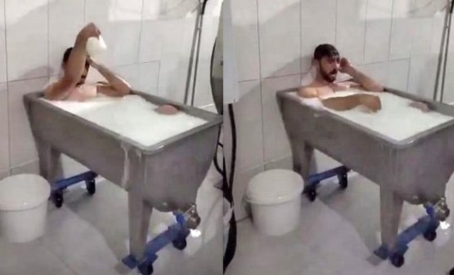 Fabrikada süt banyosu yapan ve o anları kayda alan kişi tutuklandı