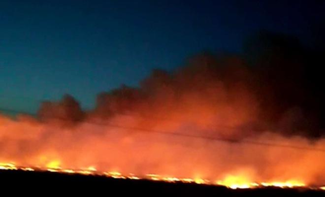 Diyarbakır'da çıkan anız yangın sürücülere zor anlar yaşatıyor