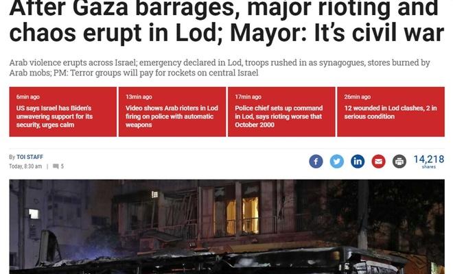 """Siyonist medyası Lod kentindeki direnişi """"iç savaş"""" başlığı ile duyurdu"""