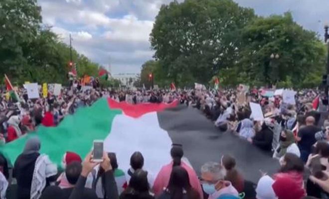 ABD'nin başkenti Washington'da işgal rejiminin saldırıları protesto edildi