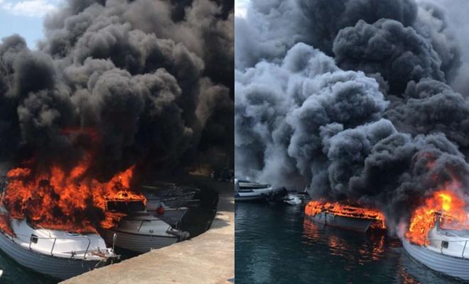İstanbul'da 9 tekne alev aldı