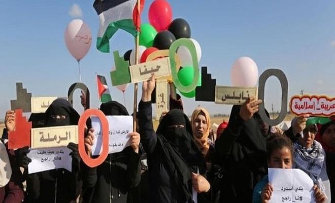 Gazzeli kadınlardan `Büyük Dönüş Yürüyüşü`ne` destek