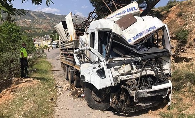 Freni boşalan kamyon ev ve araçlara çarptı