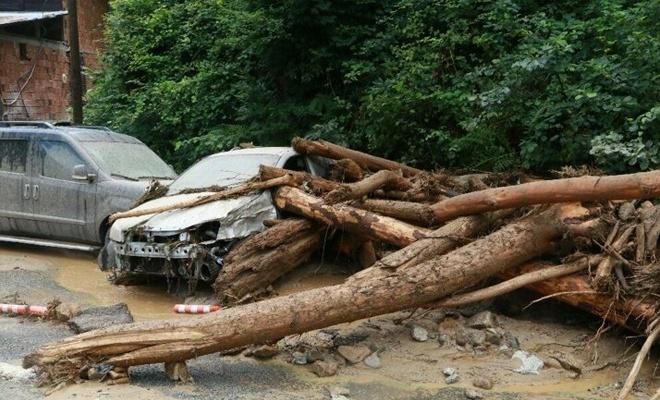 Rize'deki şiddetli yağış etkili oluyor