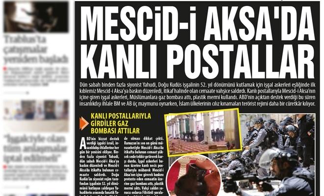 Kınamalar terörist israil'i durdurmuyor! MESCİD-İ AKSA'DA  KANLI POSTALLAR