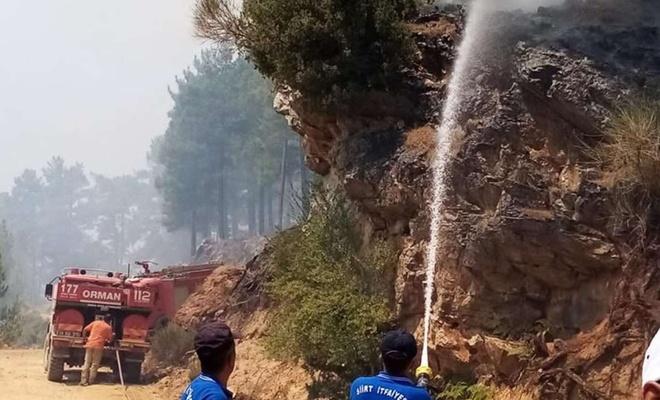 Siirt Belediyesi itfaiye ekipleri Manavgat yangınına müdahale ediyor
