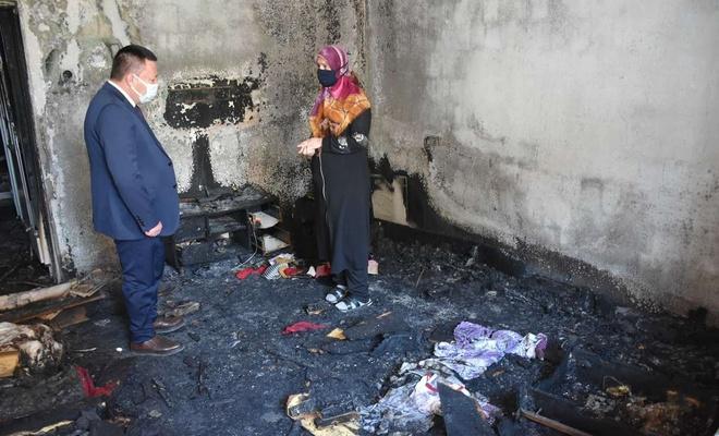 Bağlar Belediyesinden evi yanan aileye moral ve destek ziyareti