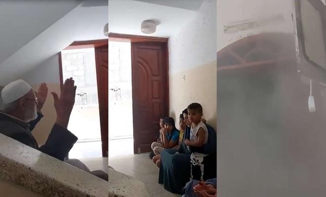 Gazzeli ailenin evlerinin dua sırasında bombalanma anları kameraya yansıdı