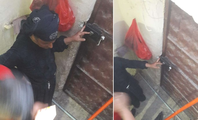 Eli kapıya sıkışan kadını itfaiye ekipleri kurtardı