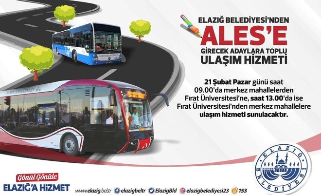 Elâzığ Belediyesi'nden ALES'e girecek adaylara toplu ulaşım hizmeti